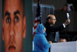 Khizr Khan, who's son Humayun (L) was killed serving in the U.S. Army, challenges Republican presidential nominee Donald Trump to read his copy of the U.S. Constitution, at the Democratic National Convention in Philadelphia, Pennsylvania, U.S. July 28, 2016. REUTERS/Lucy Nicholson TPX IMAGES OF THE DAY - RTSK69M