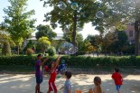 Soap bubble fun in front of Arc De Triomf