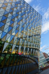 "This aula, at Karolinska Institutet, was finished in 2013 and was named ""Building of the year in Sweden"" in 2014."