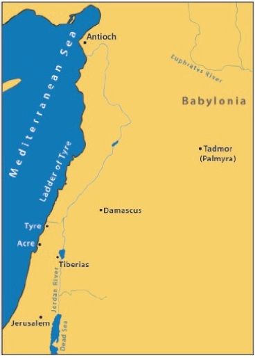 A map showing the location of Tadmor, also called Palmyra, in the east of Babylonia.