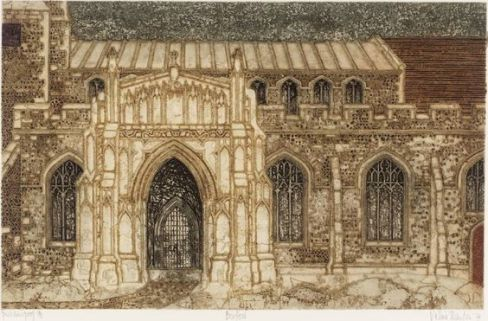 Boxford Church, Suffolk. Valerie Thornton (British, 1931-1991) 1974 etching and aquatint on paper