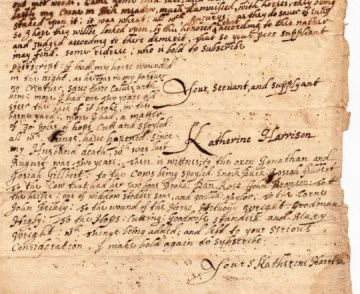 From the trial of Katherine Harrison of Wethersfield, Connecticut in 1669.