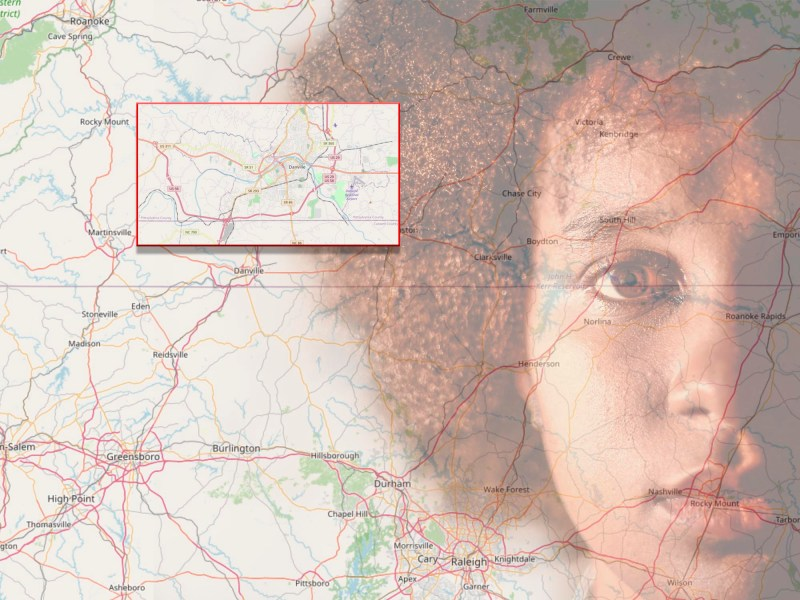 Montage for What I Didn't Know About Racism blog. Map of VA and overlaid image of African American woman