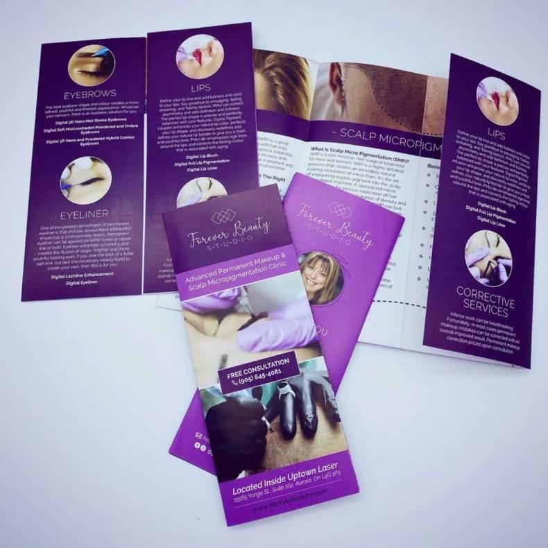 brochure print designer newmarket permanent makeup artist