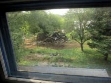 Demolition from 2nd floor window