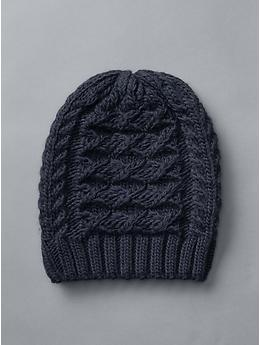Honeycomb cable knit beanie, $25