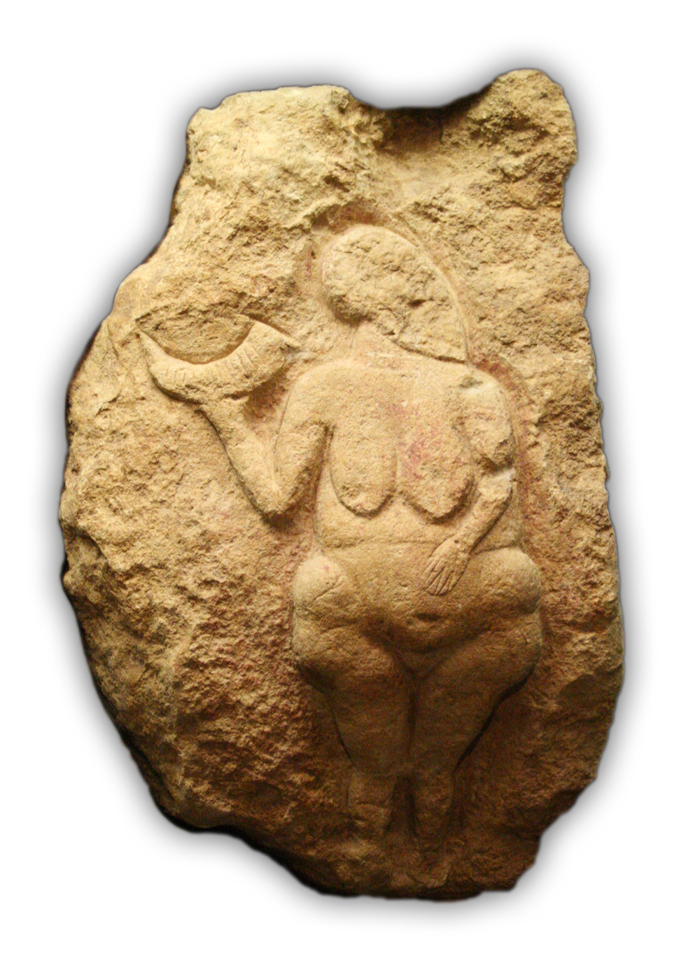 Venus of Laussel holding horn with 13 notches, marking the moon and mense