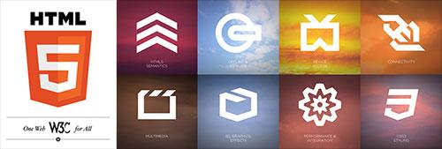 HTML5 logo and technology symbols