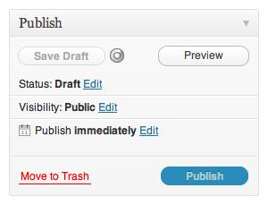WordPress 3.2 Save Draft panel