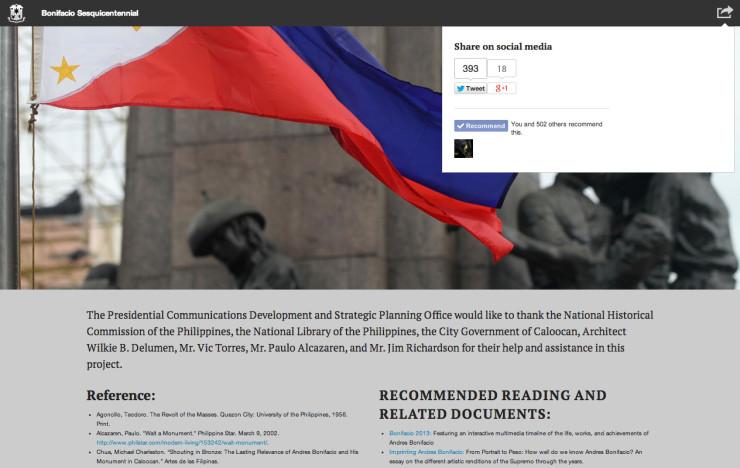 Bonifacio Sesquicentennial page: footer and social media butons