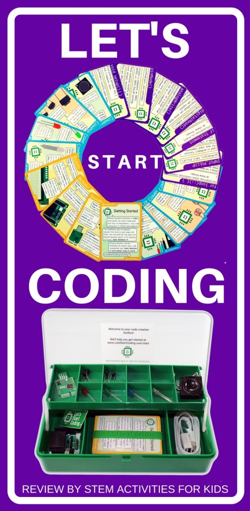 A review of the Let's Start Coding kit. Start building with electrical components such as LEDs, speakers, and microcontrollers, and then create and modify programs to see what happens! A great hands-on STEM exploration kit for both hardware and software.| STEM Activities for Kids