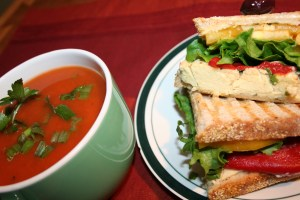 Roasted red pepper and pepper jack cheese panini bliss!