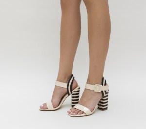 Sandale elegante negre lacuite cu toc in dungi albe