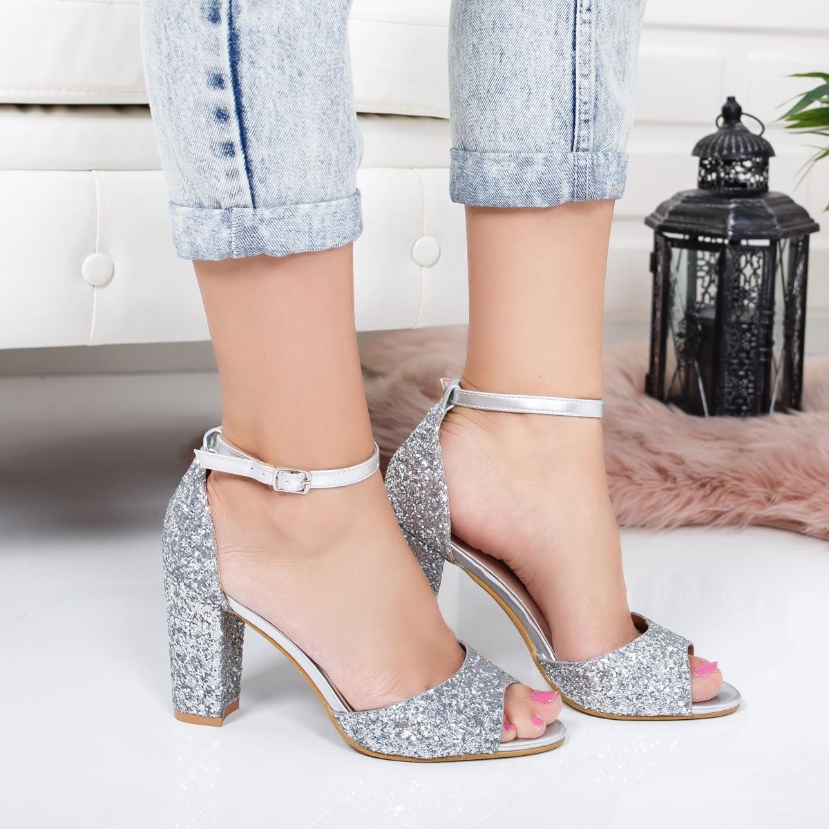 Gros Mic Dama Sandale Argintii Toc Lucioase Elegante Cu 0kn8PXwO