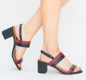 Sandale casual negre cu bordo din piele ecologica si toc mic gros