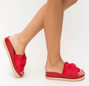 Papuci dama rosii cu talpa groasa in doua culori