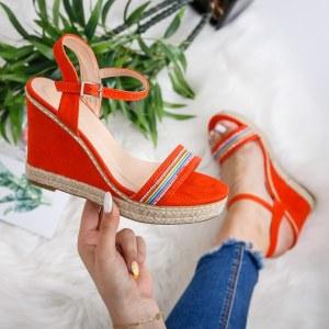 Sandale casual portocalii cu platforma inalta si dungi multicolore