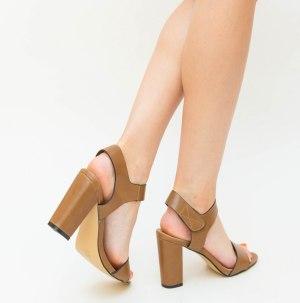Sandale dama elegante camel cu prindere in scai si toc gros inalt