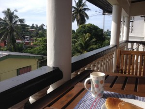 Breakfast in Fiji - tea and pancakes on the balcony