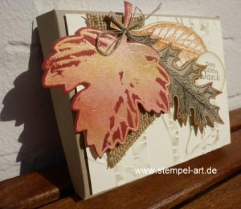 Herbstliche Schokoladenverpackung nach StempelART - quadratisch, praktisch, gut; Vintage Leaves (3)