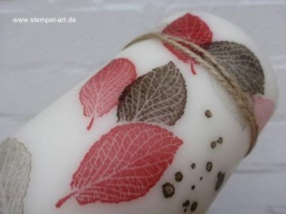 Kerzen bestempeln nach StempelART, French Foliage, (9)