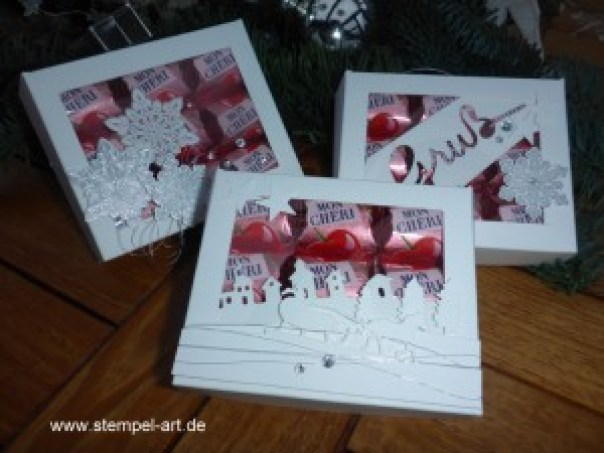 Stampin up Mon Cheri Verpackung nach StempelART, Flockenzauber, Schlittenfahrt, Weihnachtliche Worte