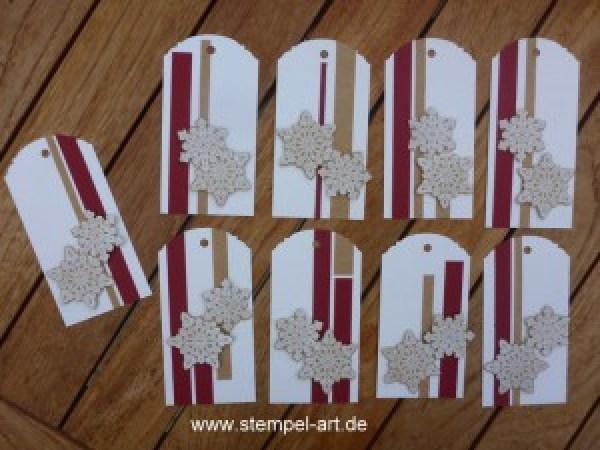 Stampin up Geschenkanhänger nach StempelART, eleganter Anhänger Stanze, Christbaumfestival, Tannenbaumstanze, Flockenzauber (5)