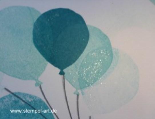 Stampin up Karte nach StempelART,Partyballons, Hoch hinaus, dreifach einstellbare Fähnchenstanze