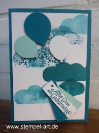 Stampin up Acrylblocktechnik nach StempelART,Partyballons, Hoch hinaus, Stanze Abreissetikett