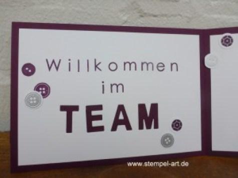Stampin up Willkommen im Team nach StempelART, Aus der Kreativkiste, Back to Basics Alphabet, Beeindruckende Buchstaben, Faux stitching technique