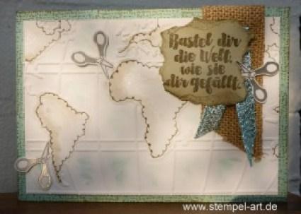 Willkommen im Team StempelART,Stampin up, Weltkarte, Aus der Kreativkiste, Eins für Alles, Stanze Abreißetikett, Itty Bitty Akzente