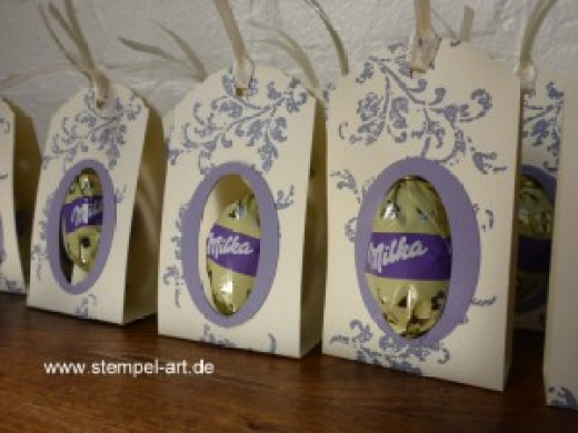 Verpackung für lila Ostereier nach StempelART, Stampin up, Stanze Eleganter Anhänger, Stanze Großes Oval und Extragroßes Oval, Timesless Textures, bebilderte Anleitung
