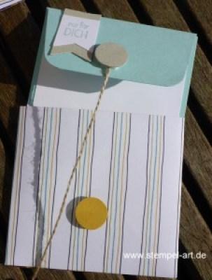 Minigrußkärtchen mit Hülle nach StempelART, Stanz - und Falzbrett für Geschenktüten, Tütenboard