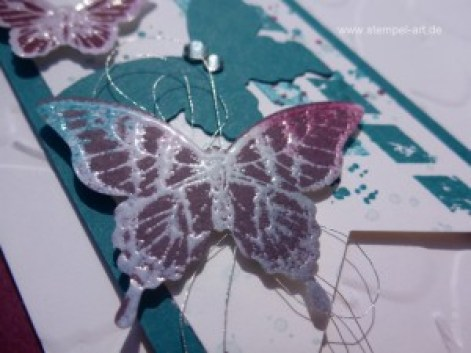 Schmetterlingskarten nach StempelART, Josephs Coat Technique, Stampin up, Papillon Potpourri, Stanze Eleganter Schmetterling, Stanze Minischmetterling, Gorgeous Grunge, Perpetual Birthday Calendar , Schmetterlingsschwarm