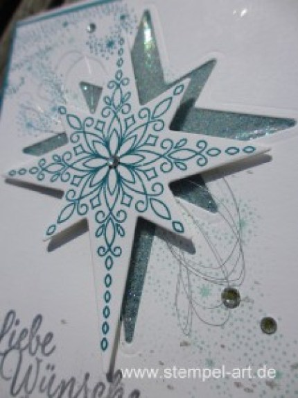 Glitter Window Technique nach StempelART, Technik Blog Hop die 2te, bebilderte Anleitung, Tutorial, Stampin up, Flockenzauber, Weihnachtsstern, Sternenzauber, Schneeflocken, Drauf und dran, Wink of Stella
