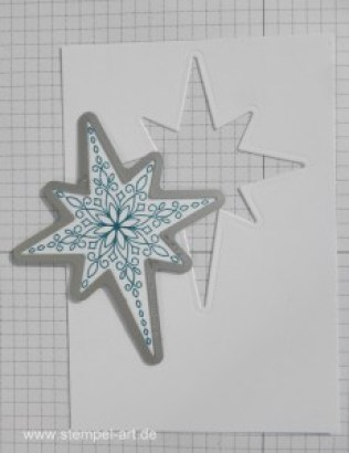 Glitter Window Technique nach StempelART, Technik Blog Hop die 2te, bebilderte Anleitung, Tutorial, Stampin up, Flockenzauber, Weihnachtsstern, Sternenzauber, Schneeflocken, Drauf und dran, Wink of Stella