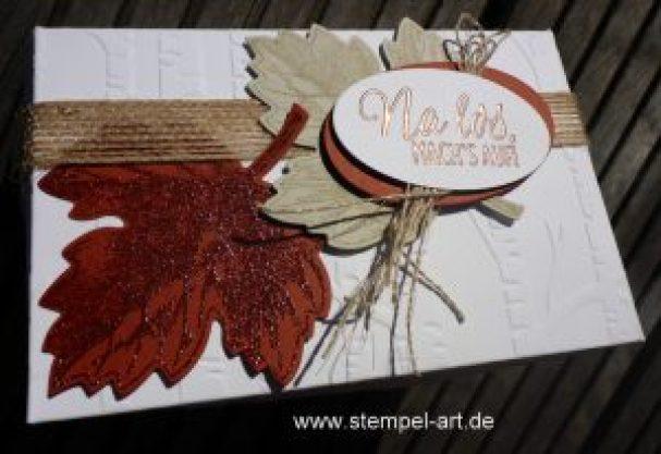 Pop up Box für eine Gutscheinkarte nach StempelART, Stampin up, Drauf und dran, Laub, Vintage Leaves, Geschenk deiner Wahl, Lagenweise Ovale, Donnerwetter , Im Wald