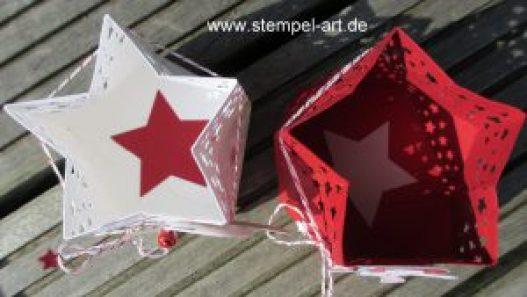 Windlicht in Sternform nach StempelART, Stampin up, Stanz - und Falzbrett für Geschenktüten, Jolly Friends, Stanze Sternenkonfetti, Elementstanze Weihnachtsmütze