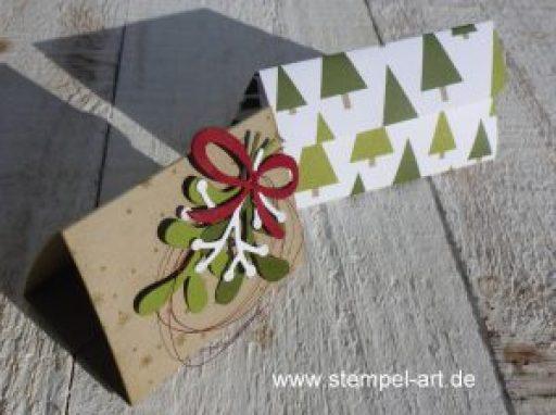 Swaps für Düsseldorf nach StempelART, Stampin up, Dreiecksbox, 6x6, Tannenzauber, Tannen und Zapfen, Ritter Sport Mini Würfel