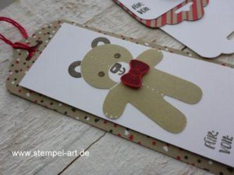 Ausgestochen weihnachtliche Workshopprojekte nach StempelART, Stampin up, Ausgestochen weihnachtlich, Elementstanze Lebkuchenmännchen, Drauf und dran, Stanze Gewellter Anhänger, Weihnachten, Geschenkanhänger