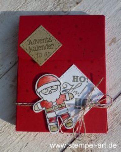 Adventskalender to go nach StempelART, Stampin up, Ausgestochen weihnachtlich, Elementstanze Lebkuchenmännchen, Grüße vom Weihnachtsmann, Tannenzauber, Framelits Stickmusterp1000793