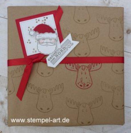 Grüße vom Weihnachtsmann nach StempelART, Stampin up, Jolly Friends, Elementstanze Weihnachtmütze, Framelits Stickmuster