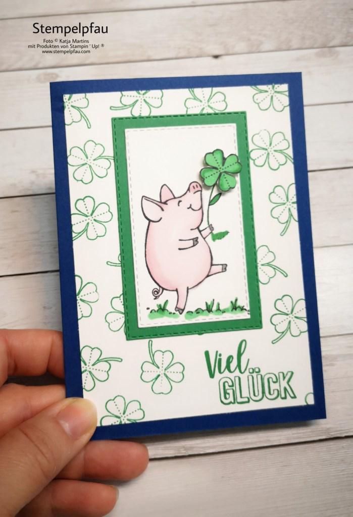 Glücksschweinchen, Kleeblatt, Stampin' Up!, Karte zur Prüfung