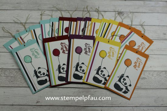 Party-Pandas Sale-a-Bration Stampinup. Coloriert mit Stampin' Blends.
