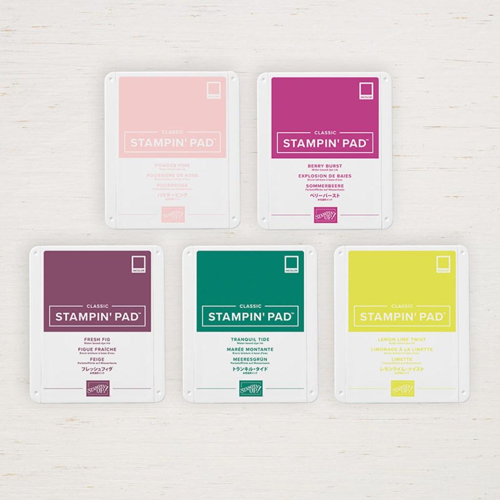 Incolour Farben Limette, Feige, Sommerbeere, Puderrosa und Meeresgrün von Stampin' Up!