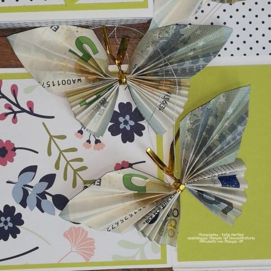 Geld falten zu Schmetterlingen