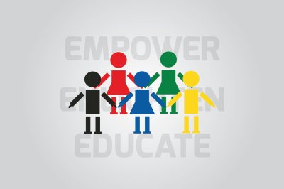 Different figures on a background of words enlighten, empower and educate