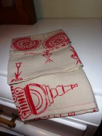 Set of three stenciled linen tea towels September 2013