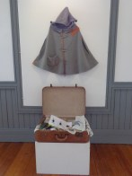 Woolen poncho and suitcase of assorted prints, Solo Exhibition at Powerhouse Gallery 2013