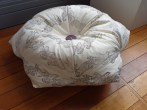 Urchin foot bean bag (block printed fabric, sculptey button) 2013